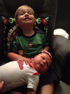 "Ryan and Logan ""cheesing"" for the camera"