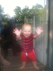 Sawyer wants to come outside and help Dadda